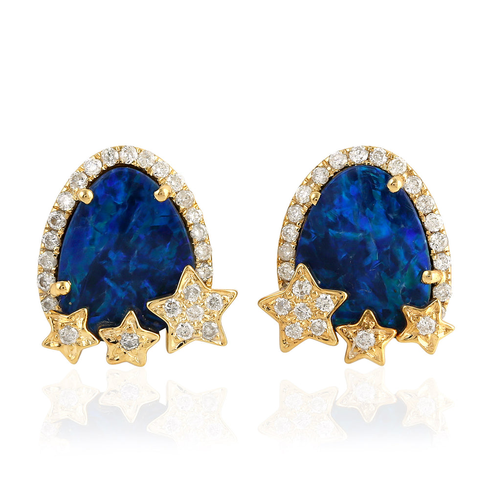 18kt Gold Star Design Opal Stud Earrings November Birthstone Jewelry
