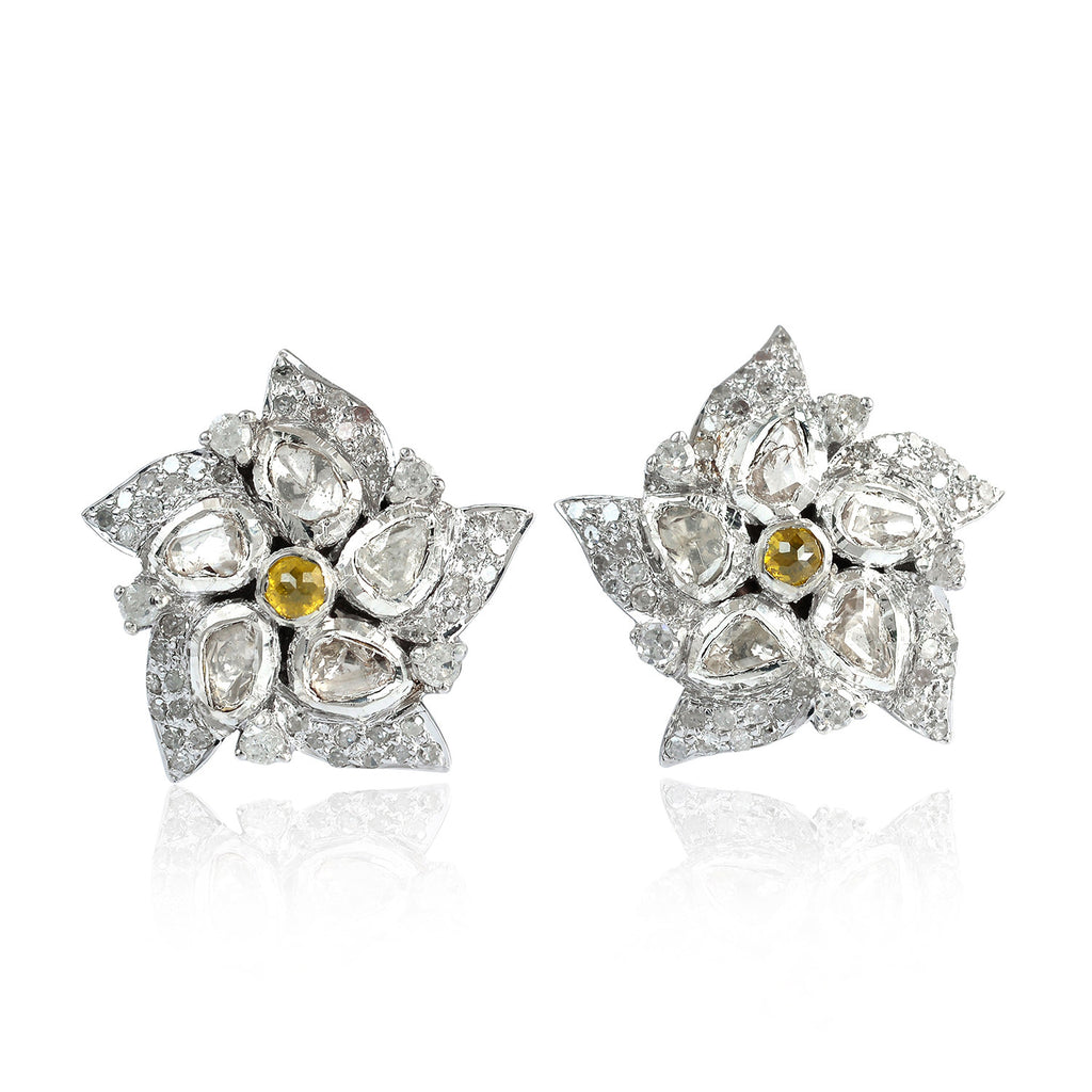 bb130dd8e 1.4ct Rose Cut Diamond Floral Stud Earrings 18kt Gold Sterling Silver –  Mettlle