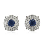 18k White Gold Diamond Sapphire Round Stud Earrings September Birthstone Jewelry
