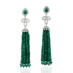18KT White Gold 3.3ct Diamond 88.32ct Emerald Beaded Tassel Earrings