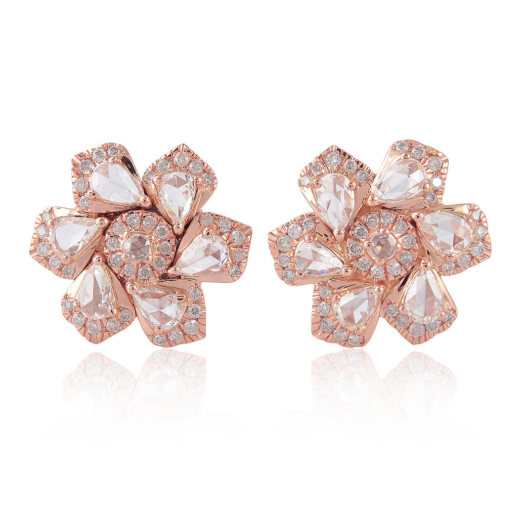 18K Solid Rose Gold 1.63Ct Diamond Flower Design Stud Earrings Women Jewelry