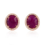 18k Rose Gold Pave Diamond July Ruby Birthstone Stud Earrings Handmade Gemstone Jewelry Christmas Gift