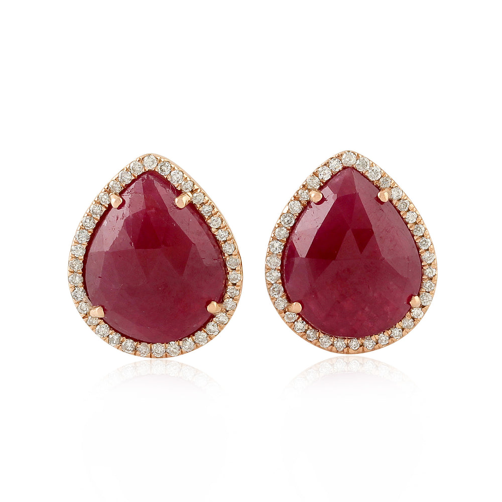 July Ruby Birthstone Pave Diamond Pear Shape Stud Earrings 18k Rose Gold Fine Jewelry Christmas Gift