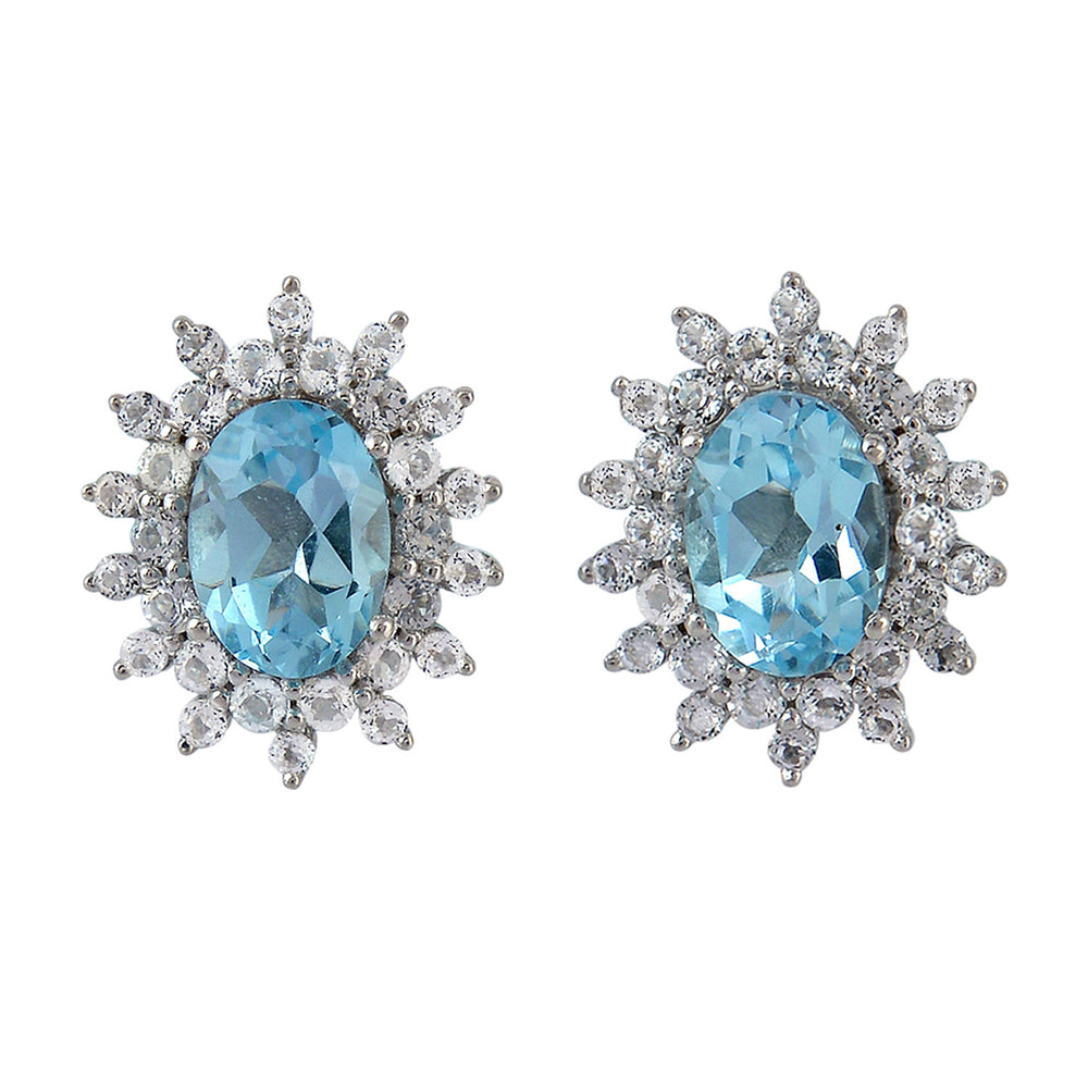 925 Sterling Silver Blue Topaz Stud Earrings November Birthstone Jewelry