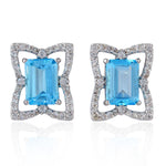 Designer 925 Sterling Silver Blue Topaz Stud Earrings November Birthstone Jewelry