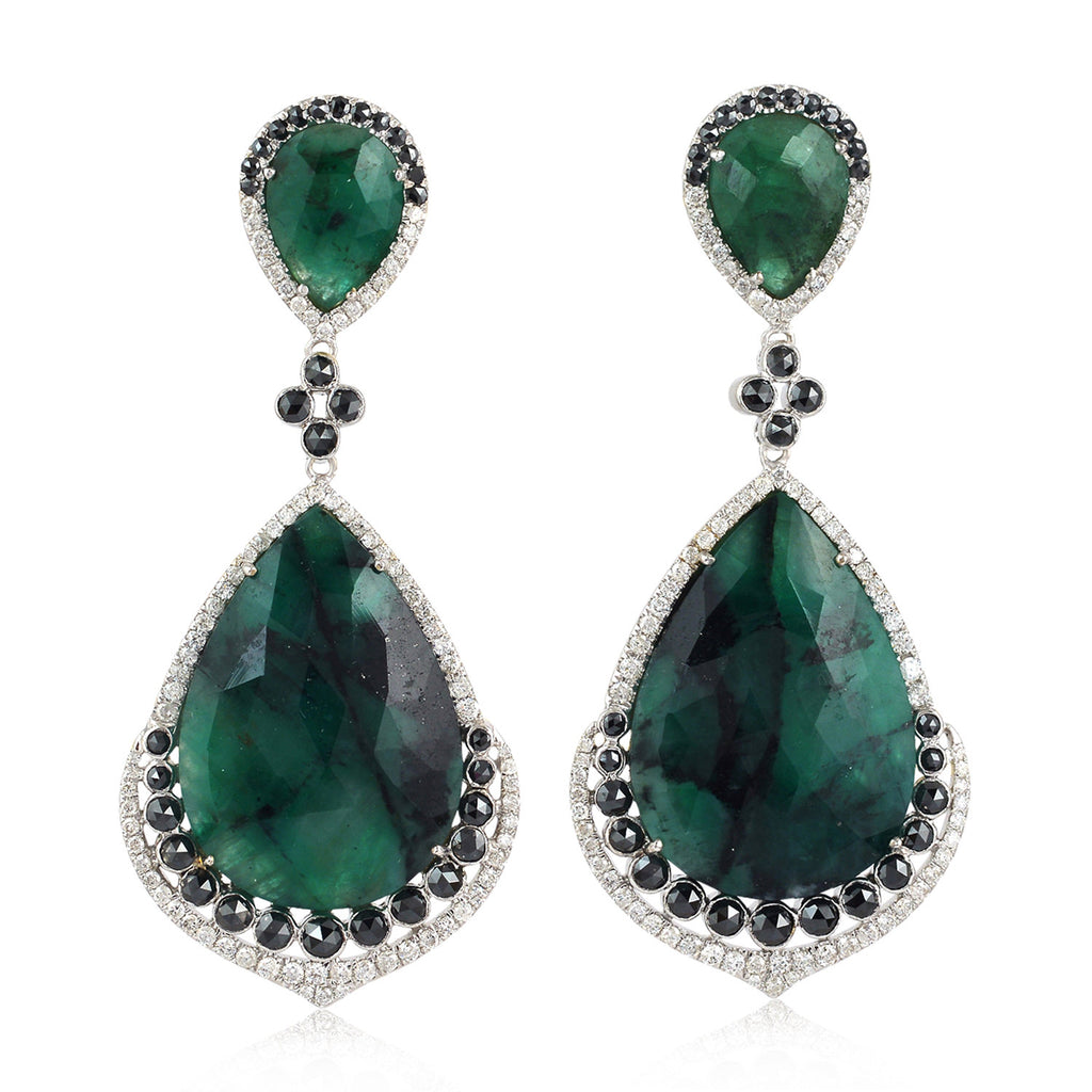 Natural 3.77ct Pave Diamond White Gold Emerald Gemstone Drop Dangle Earrings