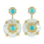 31.22ct Natural Mother of Pearl Dangle Earrings 18k Yellow Gold Jewelry