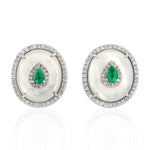 18k White Gold Stud Earrings Real Diamond Emerald Birthstone June Pearl Stud Earrings