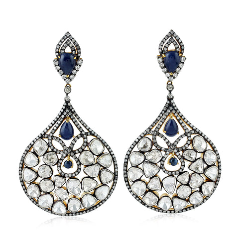 59.5ct Carved Gemstone Pave Diamond Dangle Earrings Gold Silver Designer Jewelry