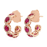 14k Rose Gold Pave Diamond July Ruby Birthstone Hoop Earrings Christmas Gift