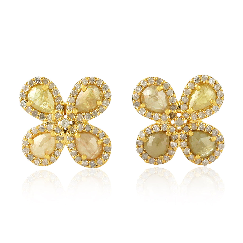 Solid 14k Yellow Gold 1.98ct Genuine Diamond Floral Stud Earrings FREE SHIPPING