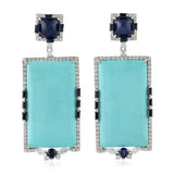 18k White Gold Pave Diamond Natural Sapphire Turquoise Dangle Earrings Jewelry