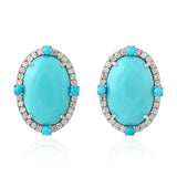 Genuine Diamond 5.25ct Turquoise Gemstone Stud Earrings 18k White Gold Jewelry