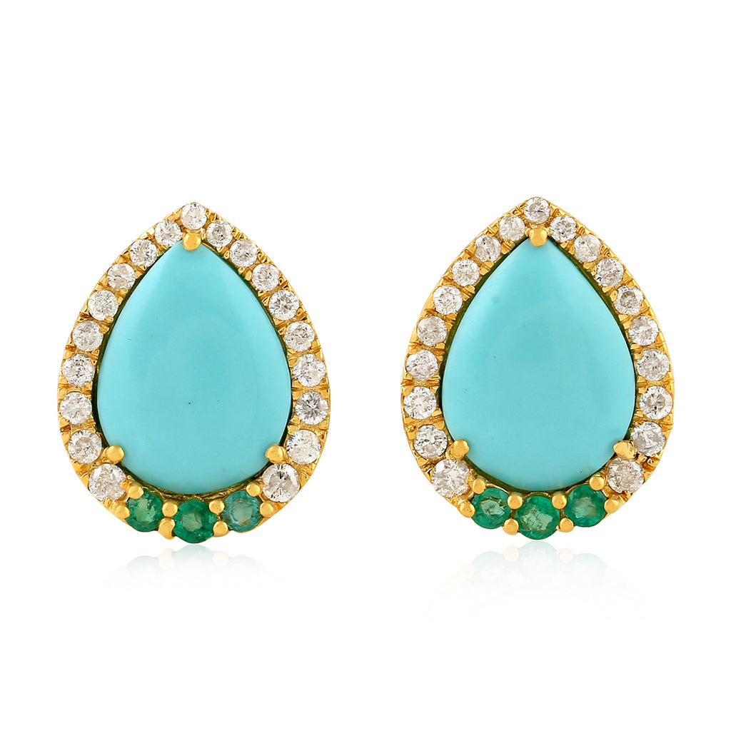 Pave Diamond 0.28ct Emerald Yellow Gold Turquoise Stud Earrings FREE SHIPPING