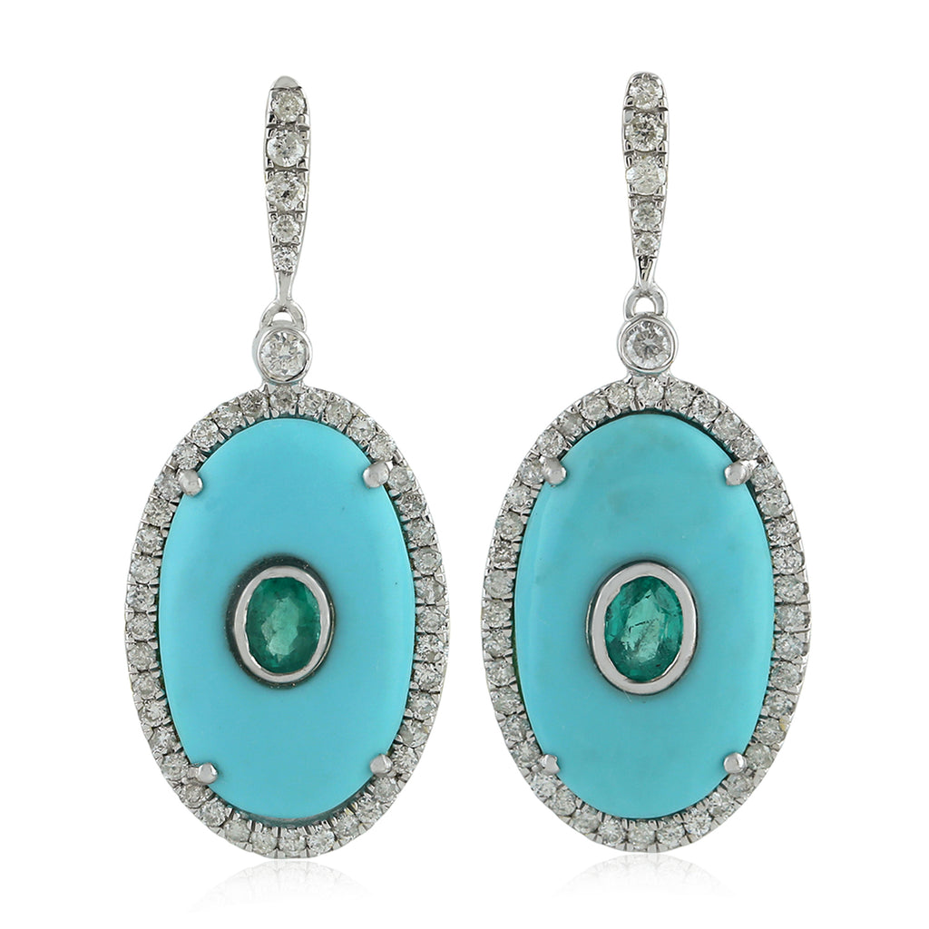 Genuine Diamond 0.45ct Emerald White Gold Turquoise Gemstone Dangle Earrings