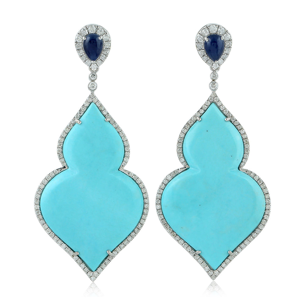 Blue Sapphire Pave Diamond White Gold Turquoise Gemstone Dangle Earrings