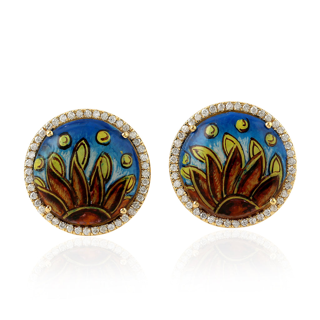 Mother Of Pearl Enamel Stud Earrings 0.49ct Pave Diamond Yellow Gold Jewelry