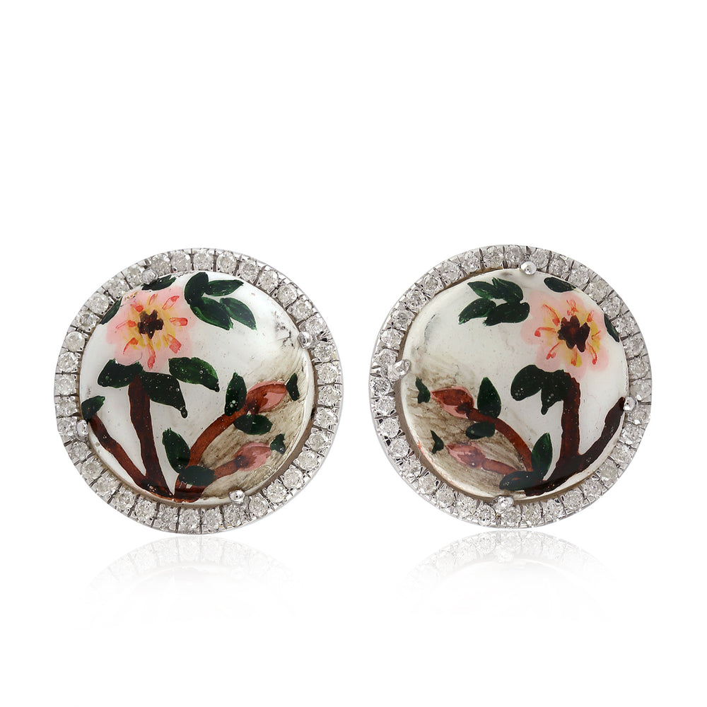 Hand Painted Mother of Pearl Stud Earrings 0.38ct Pave Diamond 18k White Gold