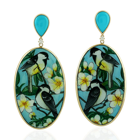 ANTQIUE Bakelite Yellow Gold Dangle Earrings 0.05ct Real Diamond Fashion Jewelry