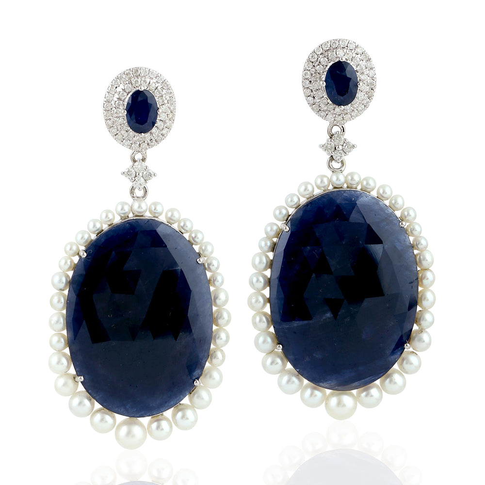 80.99ct Natural Sapphire Drop Dangle Earrings 18k White Gold Pearl Jewelry