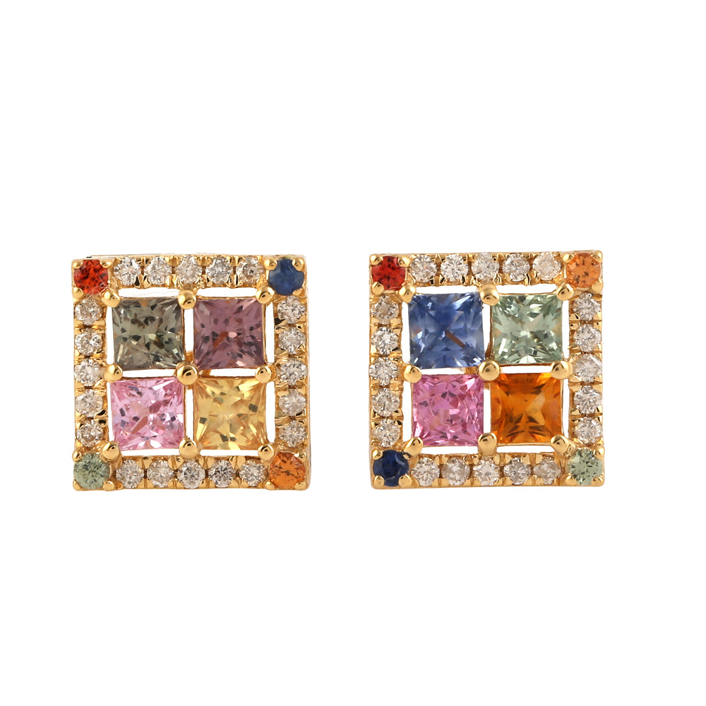Pave Diamond 2.01ct Multi Sapphire Square Stud Earrings 18k Yellow Gold Jewelry