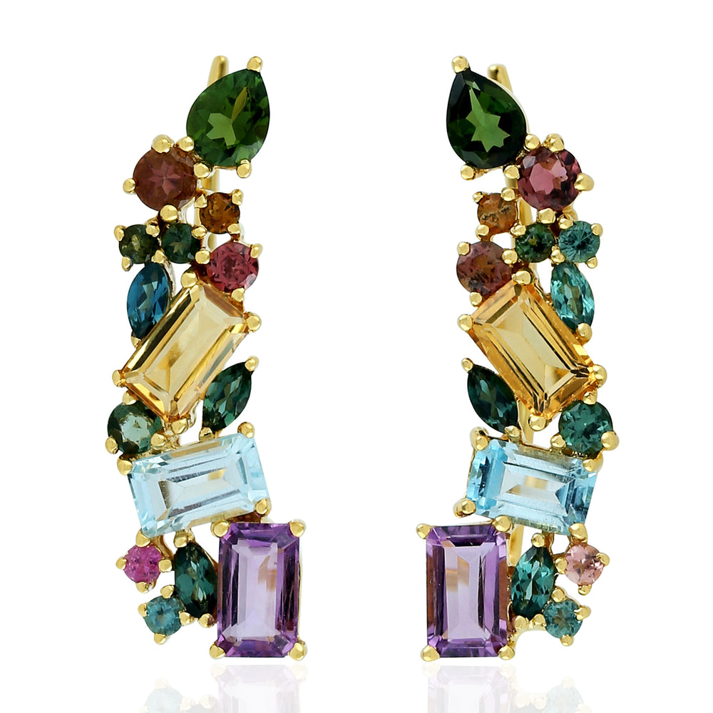 18k Yellow Gold 2.69ct Multi Gemstone Cluster Ear Climbers For Womens