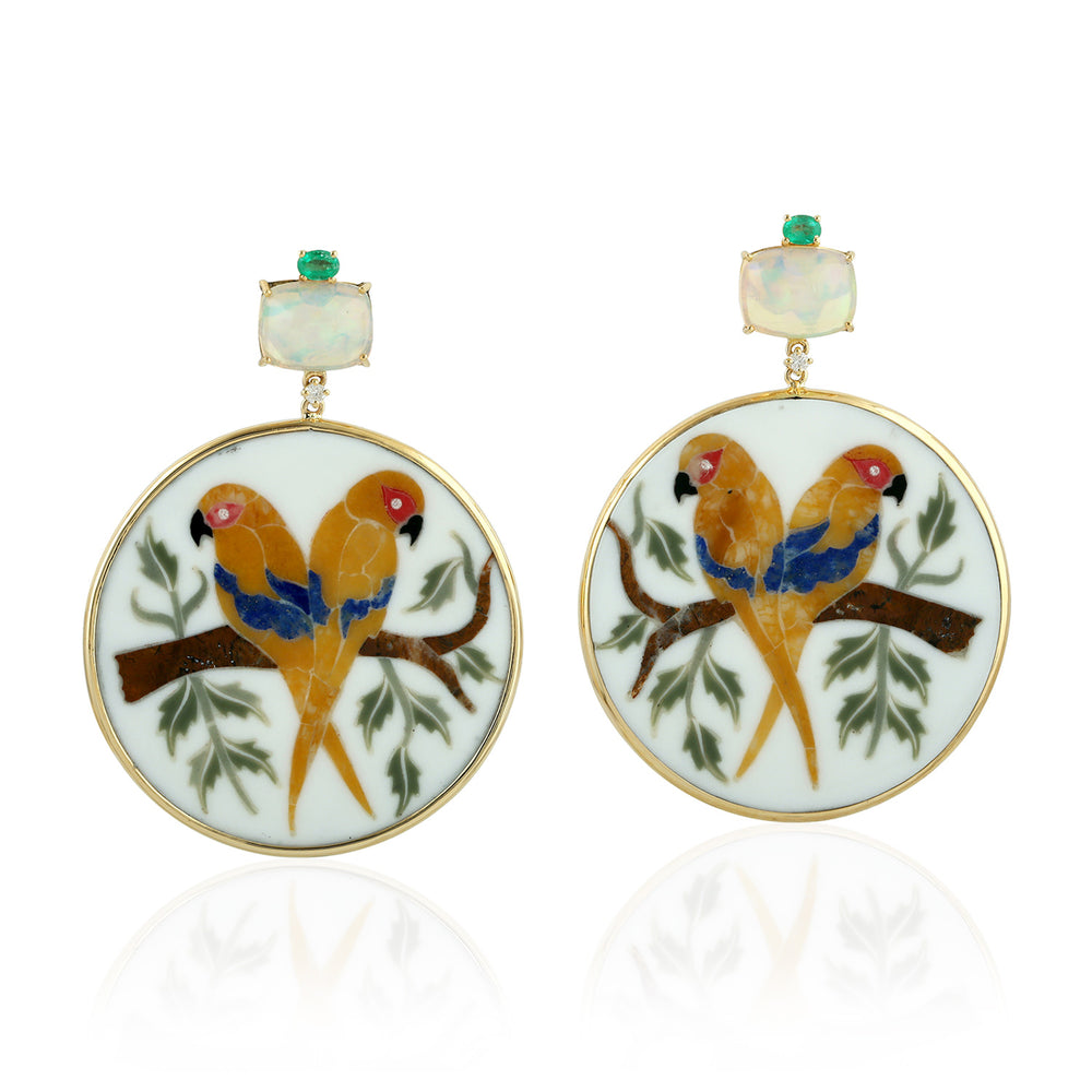18k Yellow Gold Opal Gemstone Emerald Bakelite Inlay Bird Earrings