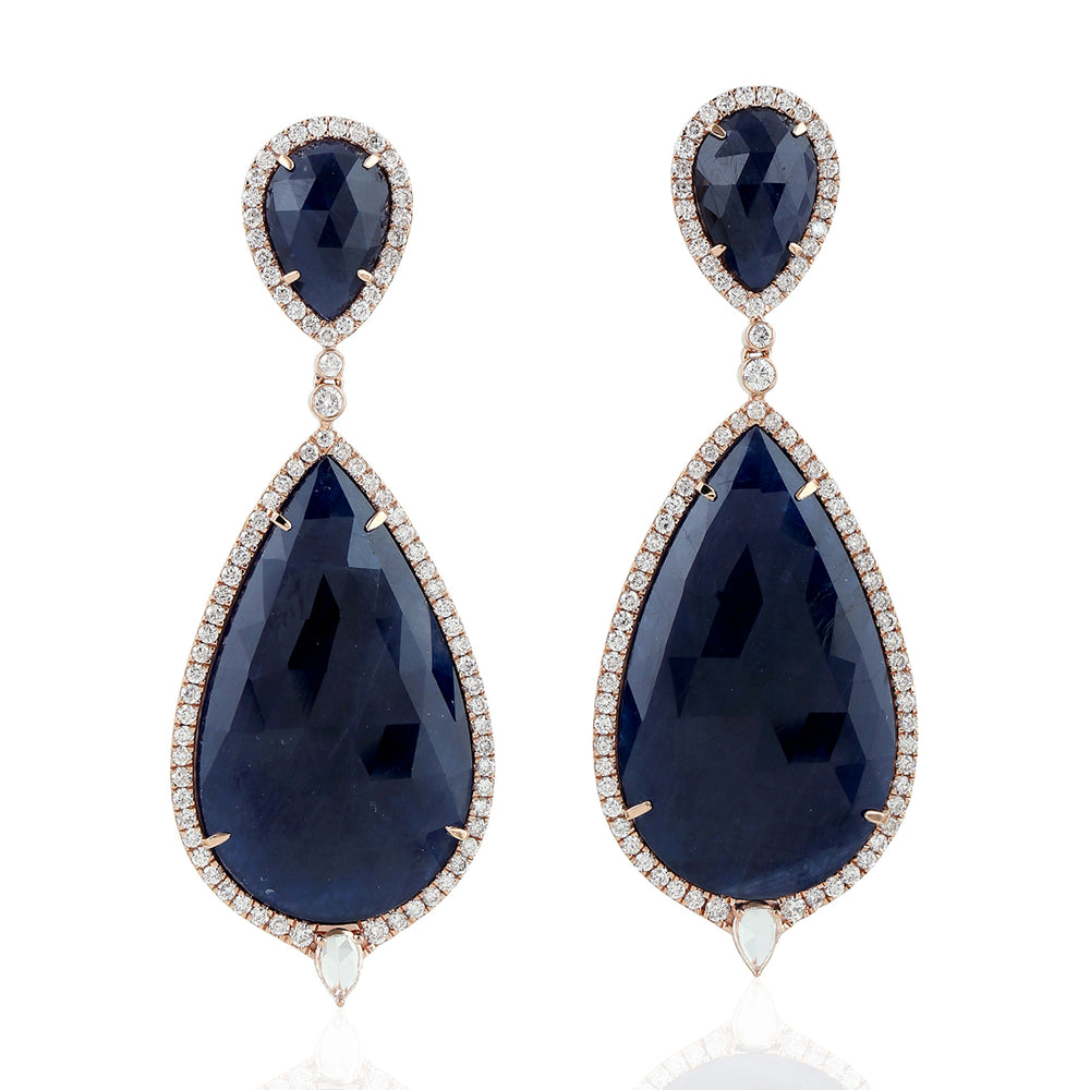 54.77 Natural Sapphire Dangle Earrings 18K Rose Gold Diamond Jewelry
