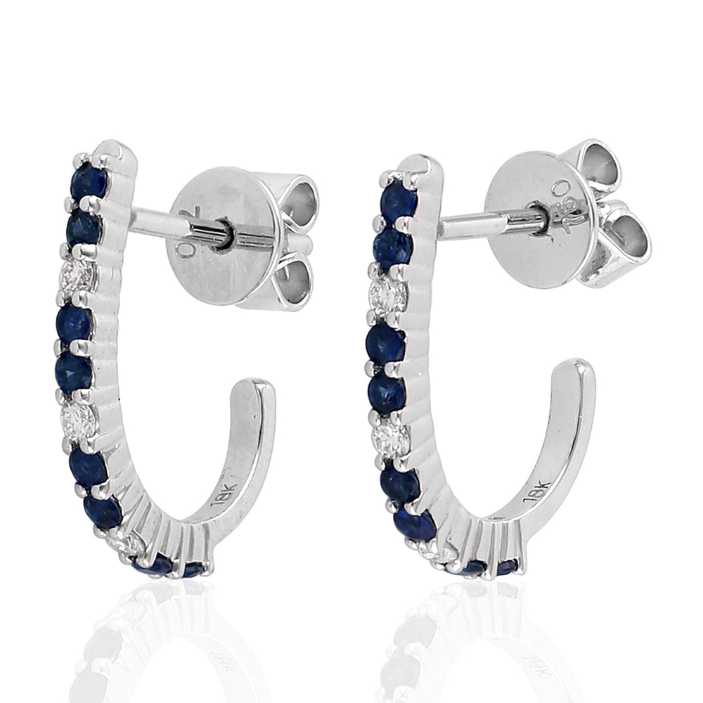 18k White Gold Diamond Sapphire Hoop Earrings September Birthstone Jewelry