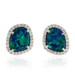 18kt White Gold Opal Gemstone Stud Earrings November Birthstone Jewelry