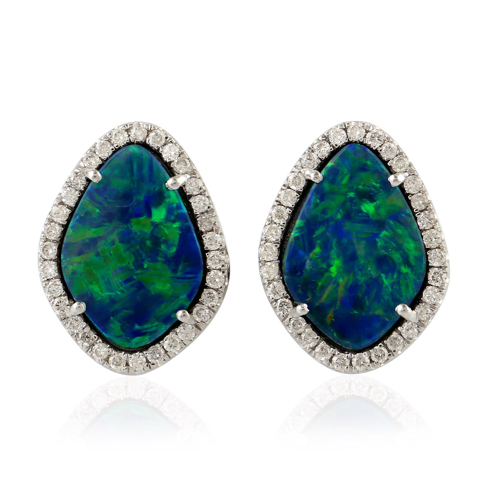 18kt White and Diamond Gold Opal Stud Earrings November Birthstone Jewelry