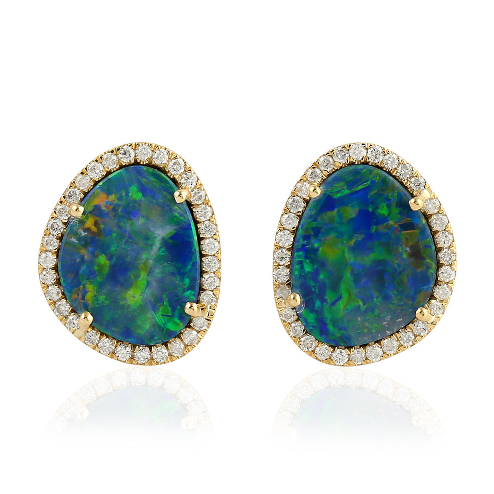 Diamond Opal Stud Earrings 18kt Gold Jewelry November Birthstone Jewelry