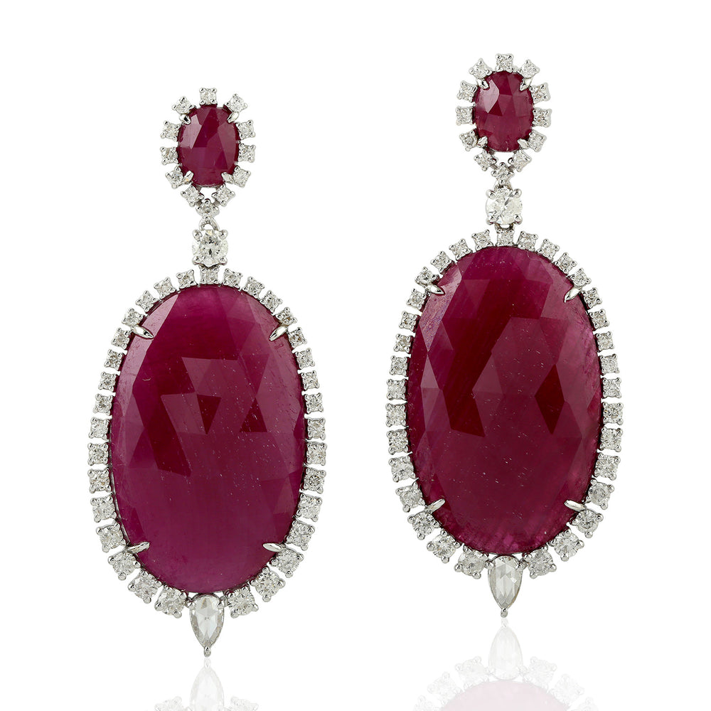 18KT White Gold 2.17ct Diamond 48.31ct Ruby Dangle Earrings