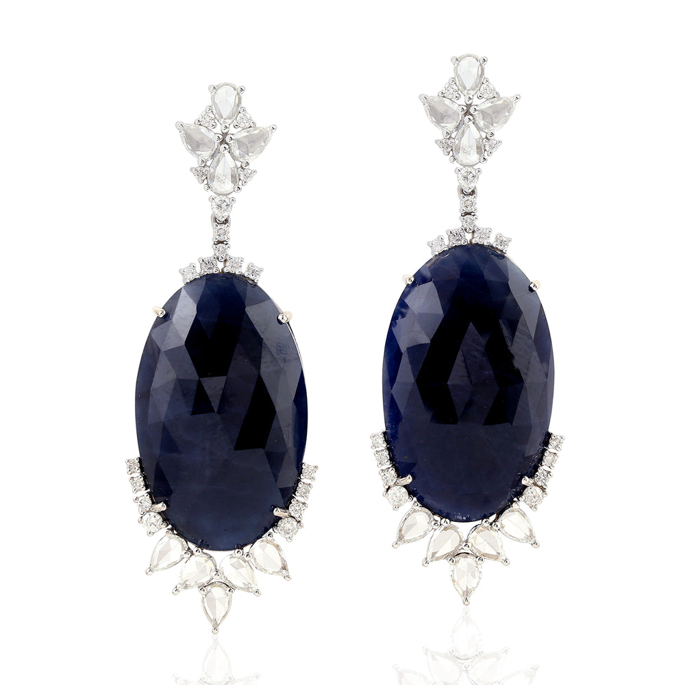 18KT White Gold 2.4ct Diamond 52.02ct Sapphire Beaded  Dangle Earrings