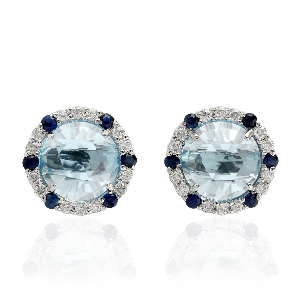 5.34ct Natural Sapphire Stud Earrings 18k White Gold Jewelry