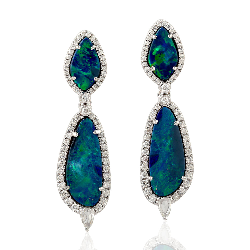 7.38Ct Natural Doublet Opals Dangle Earrings 18K White Gold Jewelry