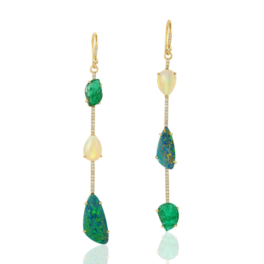 12.46ct Natural Emerald Dangle Earrings 18k Yellow Gold Jewelry