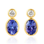 Gold 18Kt  0.33 Ct Diamond  Tanzanite Stud Earrings December Birthstone Jewelry
