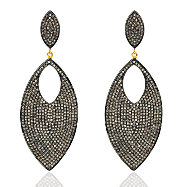 9.22ct Natural Diamond Pave Marquise Shape Dangle Earrings 14k Gold 925 Silver Black Friday Sale Valentines Gift