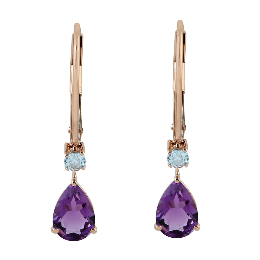 2.56ct Natural Amethyst Drop/Dangle Earrings 18k Rose Gold Topaz Jewelry February Birthstone Jewelry
