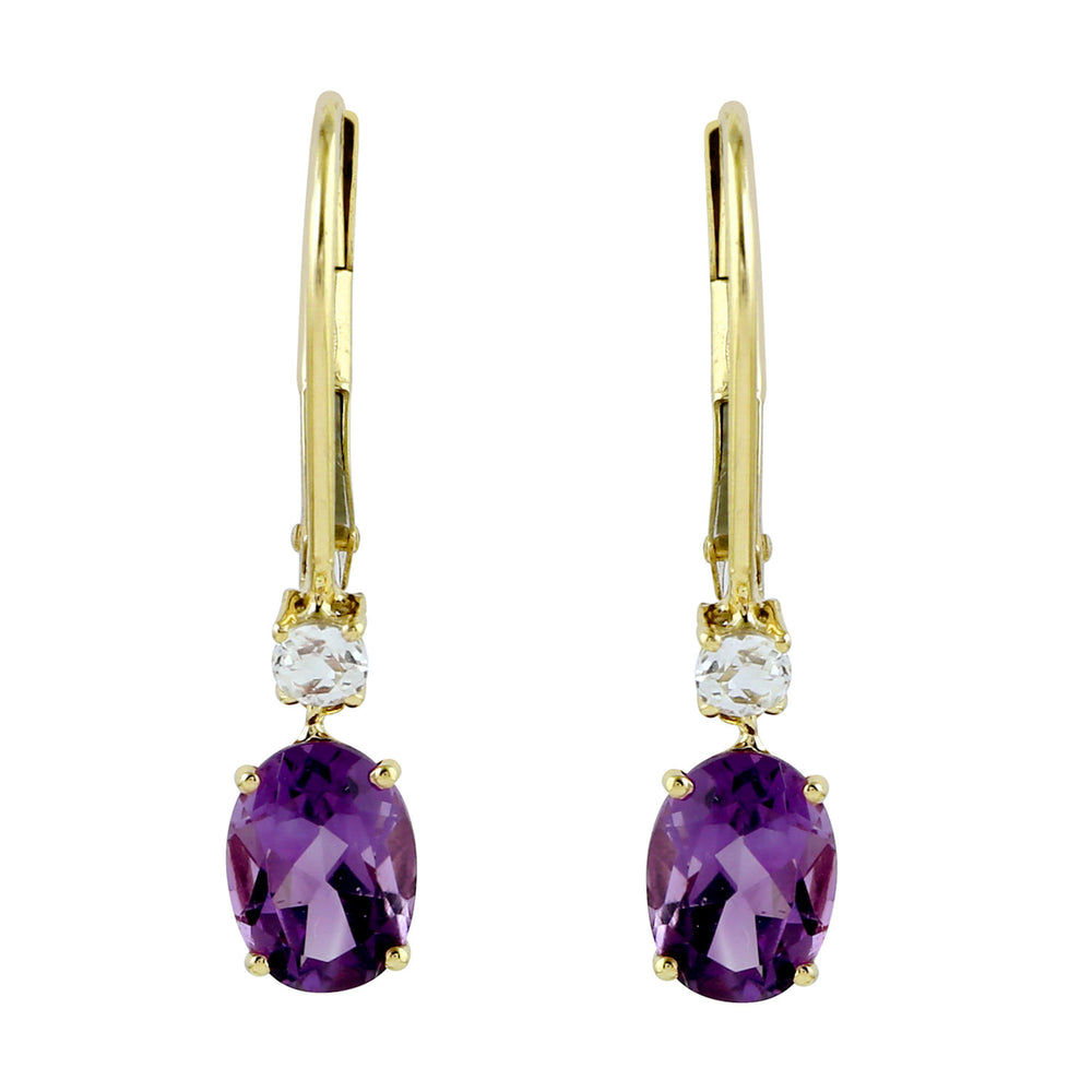 1.9ct Natural Amethyst Drop/Dangle Earrings 10k Yellow Gold Topaz Jewelry February Birthstone Jewelry