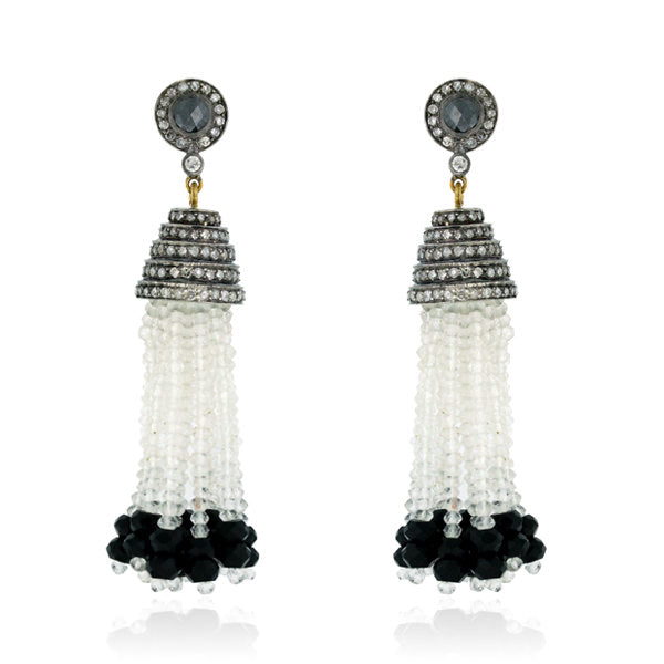 18k Gold 3.67ct Pave Diamond Black Onyx Crystal Beaded Tassel Earrngs 925 Silver