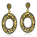 18Kt Gold 925 Sterling Silver 3.03 ct Diamond Citrine Dangle Earrings November Birthstone Jewelry