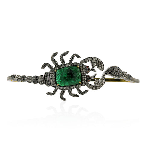 3.76ct Pave Tsavorite Sterling Silver Palm Bracelet Fashionable Jewelry
