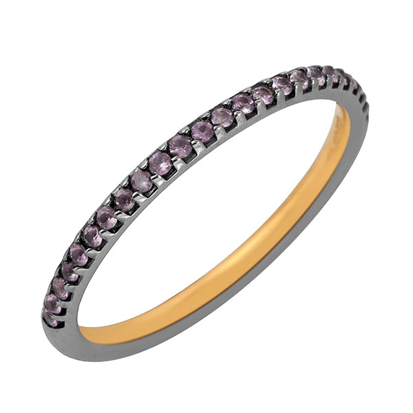 0.17ct Amethyst .925 Sterling Silver Half Eternity Band Ring Handmade Jewelry February Birthstone Jewelry
