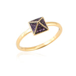 0.11ct Natural Amethyst Band Ring 18k Yellow Gold Jewelry February Birthstone Jewelry