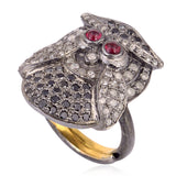 Owl Design Midi Ring Ruby Diamond 18kt Gold 925 Sterling Silver Handmade Jewels