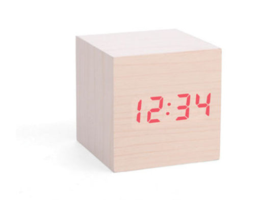 Alarm Clock Wood Cube White