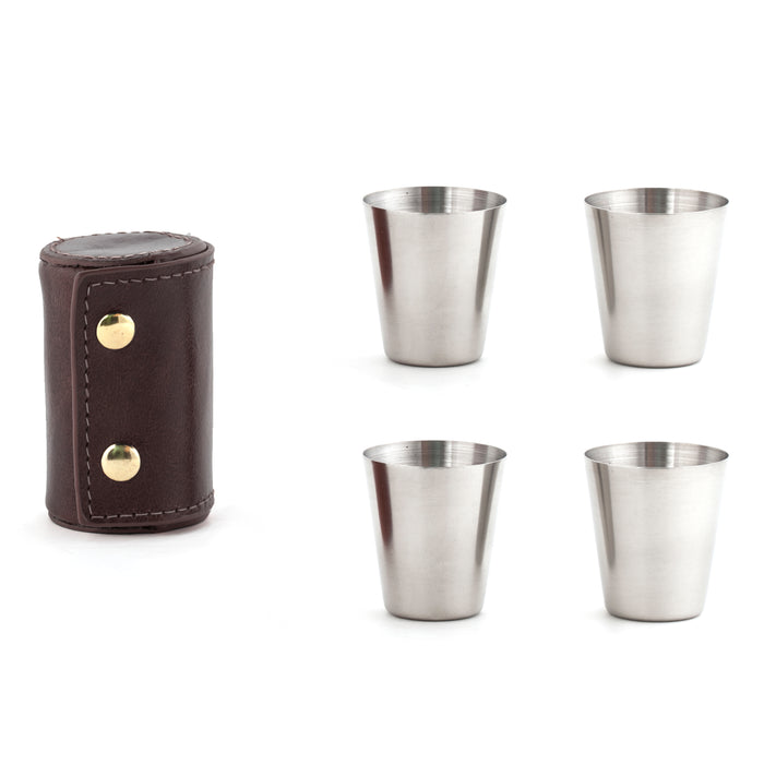 Shot Glasses With Leather Case
