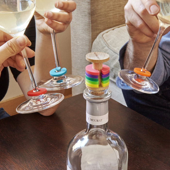Rainbow Wine Rings + Stopper